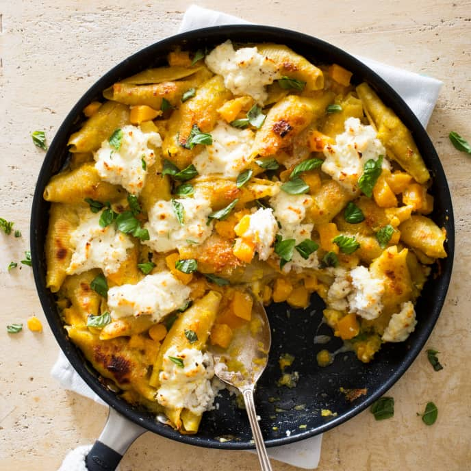 Unstuffed Shells with Butternut Squash and Leeks
