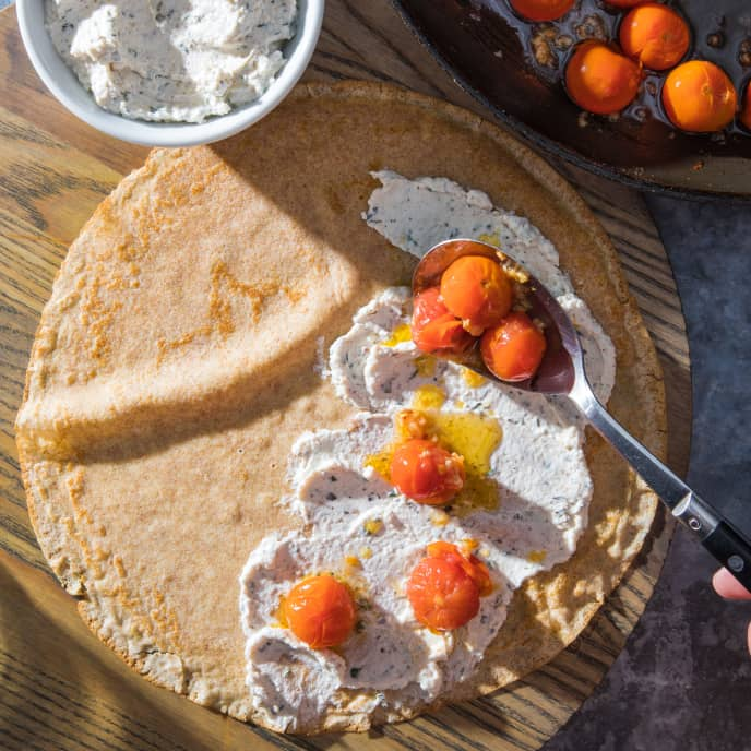 Whole-Wheat Crepes with Sautéed Cherry Tomatoes and Ricotta