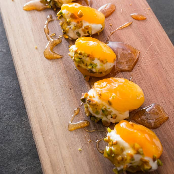 Turkish Stuffed Apricots with Rose Water and Pistachios