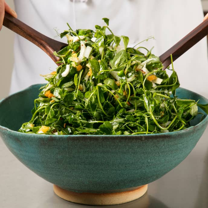 Pea Green Salad with Warm Apricot-Pistachio Vinaigrette