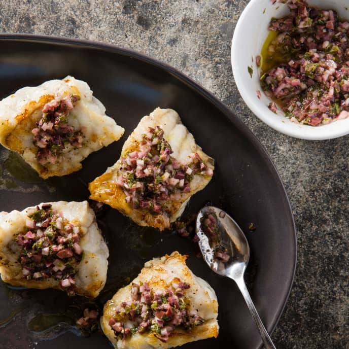 Pan-Roasted Monkfish with Oregano–Black Olive Relish