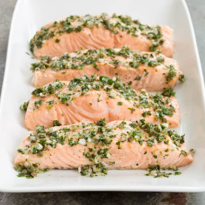 Slow-Cooker Poached Salmon with Caper Relish
