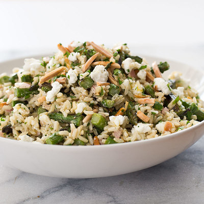Brown Rice Salad with Asparagus, Goat Cheese, and Lemon