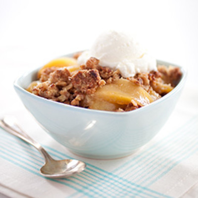 Skillet Apple Crisp with Vanilla, Cardamom, and Pistachios