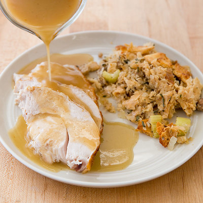 Plate of turkey and stuffing