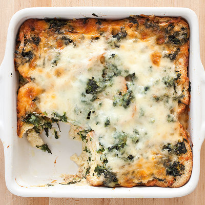 Breakfast Strata with Spinach and Gruyere