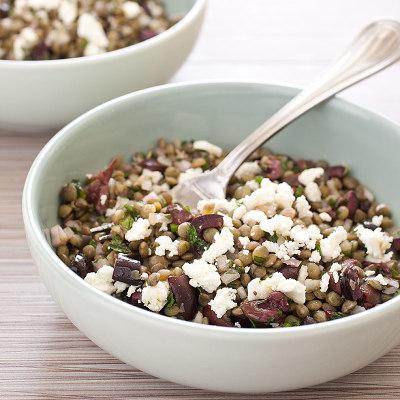 Lentil Salad with Olives, Mint, and Feta