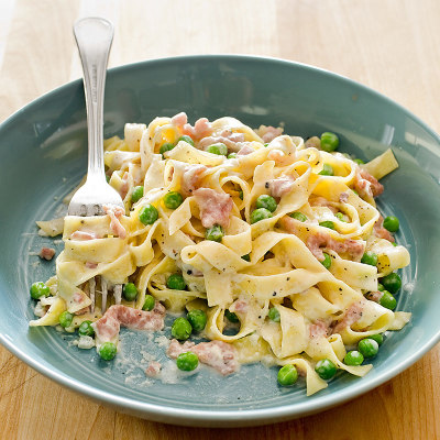 Tagliatelle with Prosciutto and Peas for Two