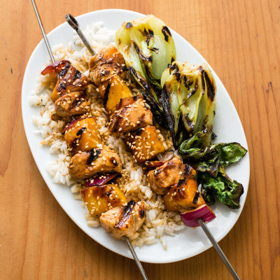 Teriyaki Chicken Kebabs with Grilled Bok Choy