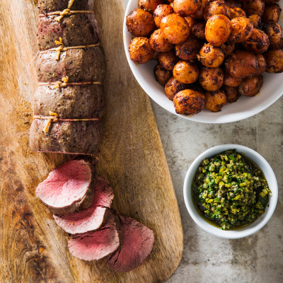 Beef Tenderloin with Smoky Potatoes and Persillade Relish