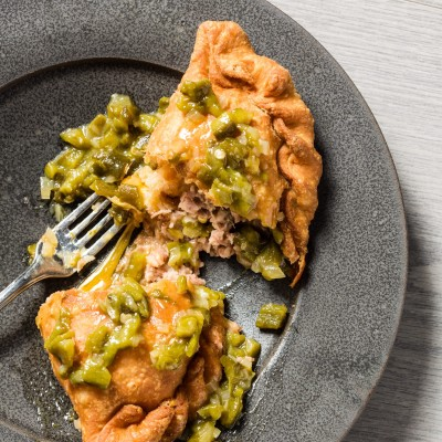Bean and Cheese Sopaipillas with Green Chile Sauce