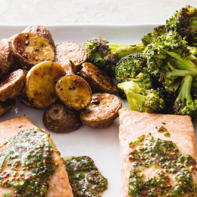 One-Pan Roasted Salmon with Broccoli and Red Potatoes