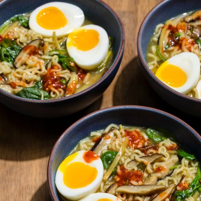 Vegetarian Ramen with Shiitakes and Soft Eggs