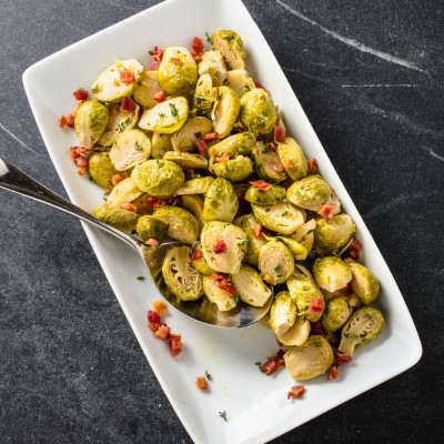 Slow-Cooker Brussels Sprouts With Lemon, Thyme, and Bacon