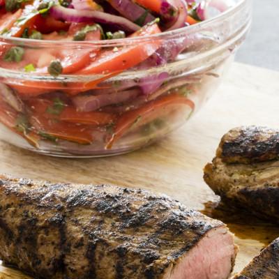 Grilled Pork Tenderloin with Tomato-Onion Salad