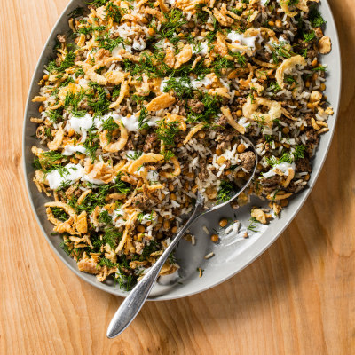 Mediterranean Rice and Lentils with Spiced Beef and Crispy Onions