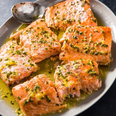 Slow-Roasted Salmon with Chives and Lemon