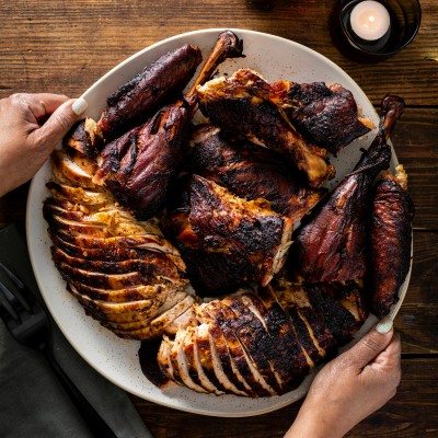 plate of carved smoked turkey