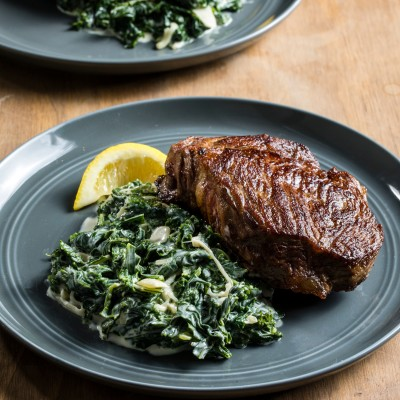 Creamed Kale and Strip Steaks