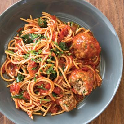 Spaghetti with Meatballs Florentine