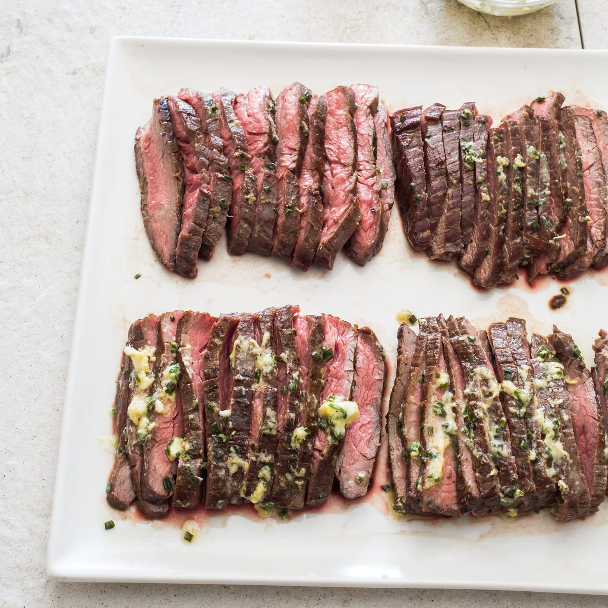 pan seared flank steak with mustard chive butter cook s illustrated