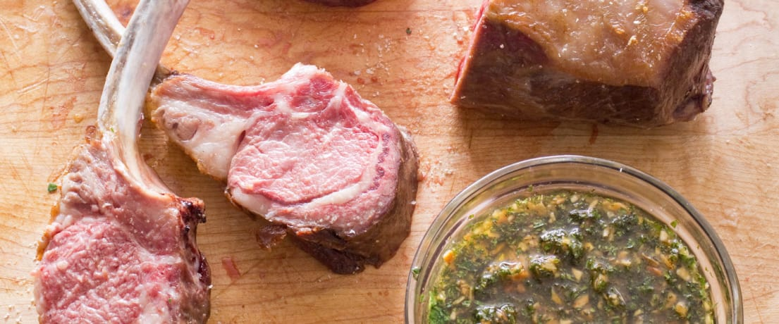 Roasted Rack of Lamb with Sweet Mint-Almond Relish