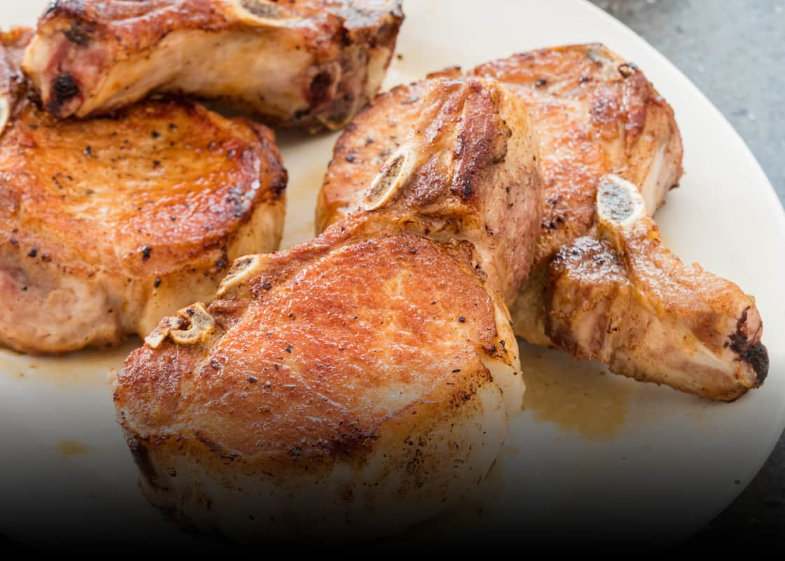 Pan Seared Oven Roasted Thick Cut Pork Chops America S Test Kitchen