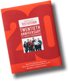 Book cover for America's Test Kitchen 20th Anniversary Special TV Show Cookbook