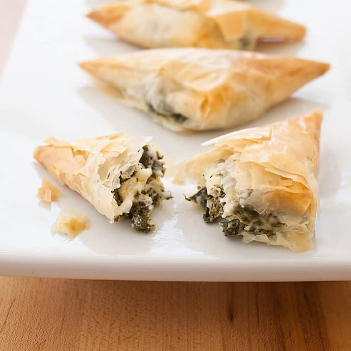 Phyllo Triangles with Spinach and Feta
