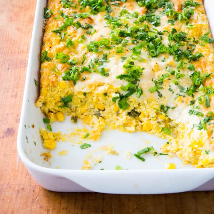 Cheesy Corn Casserole with Jalapeños and Cilantro
