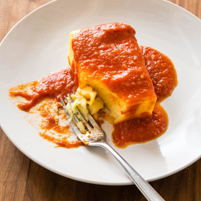 Fluffy Baked Polenta with Red Sauce