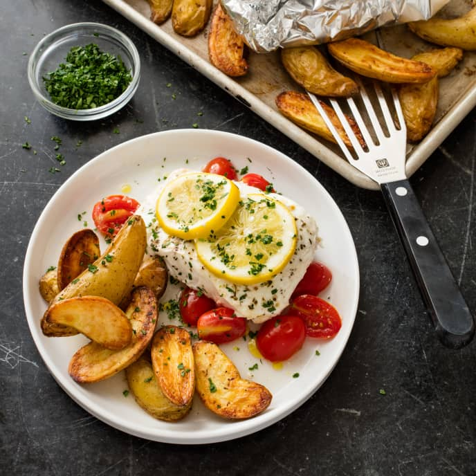 Lemon-Poached Halibut with Roasted Fingerling Potatoes