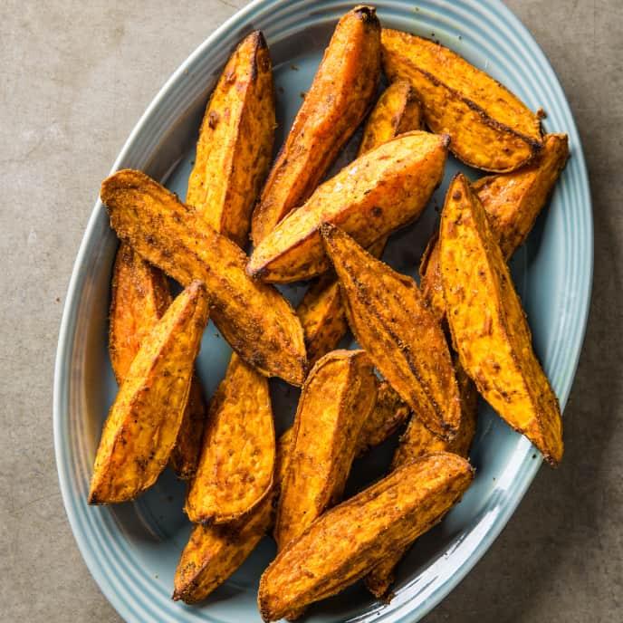 Curry Roasted Sweet Potato Wedges