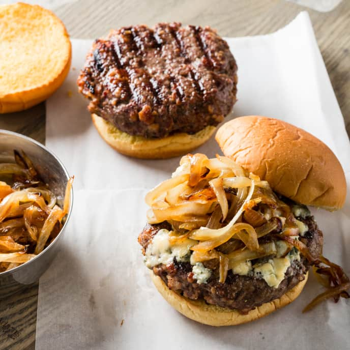 Grilled Bacon Burgers with Caramelized Onion