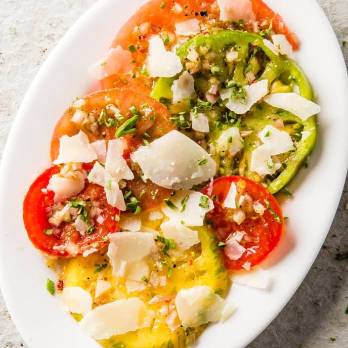 Simple Tomato Salad with Pecorino Romano and Oregano