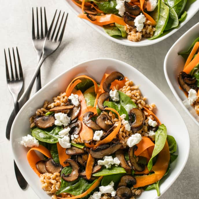 Hearty Grain and Vegetable Bowls with Goat Cheese