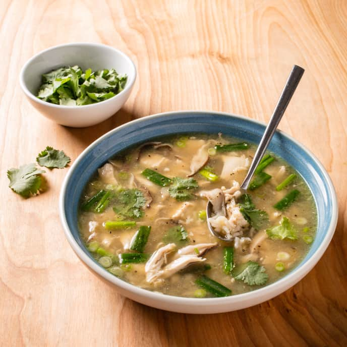 Chicken and Rice Soup with Ginger and Scallions