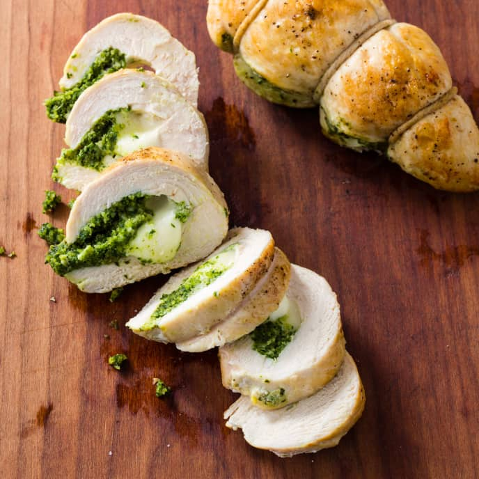 Mozzarella-and-Pesto-Stuffed Chicken Breasts for Two