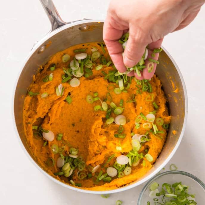 Mashed Sweet Potatoes with Jalapeño, Garlic, and Scallions