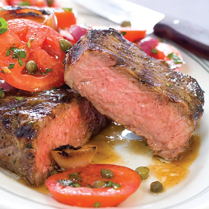 Grilled Steaks With Tomato-Onion Salad