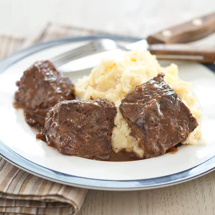 Balsamic Steak Tips with Horseradish Mash