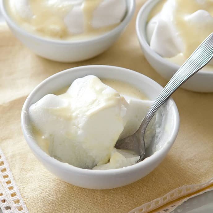 Lemon Snow with Custard Sauce