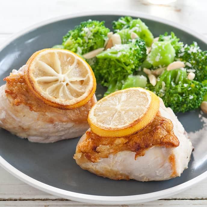 Roasted Lemon Chicken with Almond-Parmesan Broccoli
