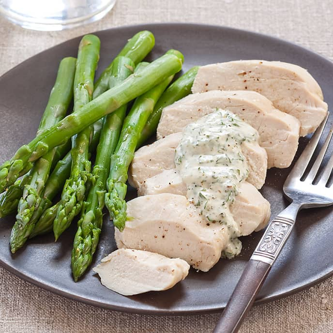 Poached Chicken with Asparagus and Herbed Mayonnaise