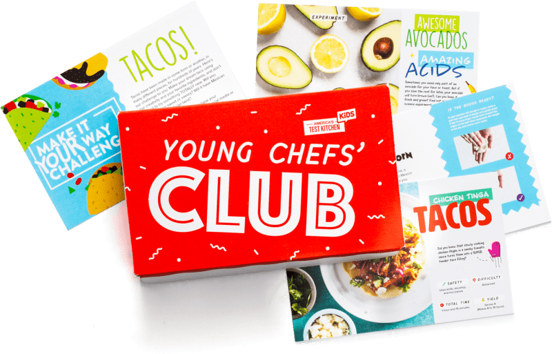 Young chefs' club box with various recipe cards