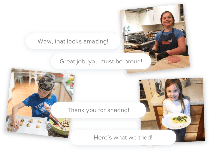Several kids preparing recipes with conversation bubbles imitating a conversation on Facebook