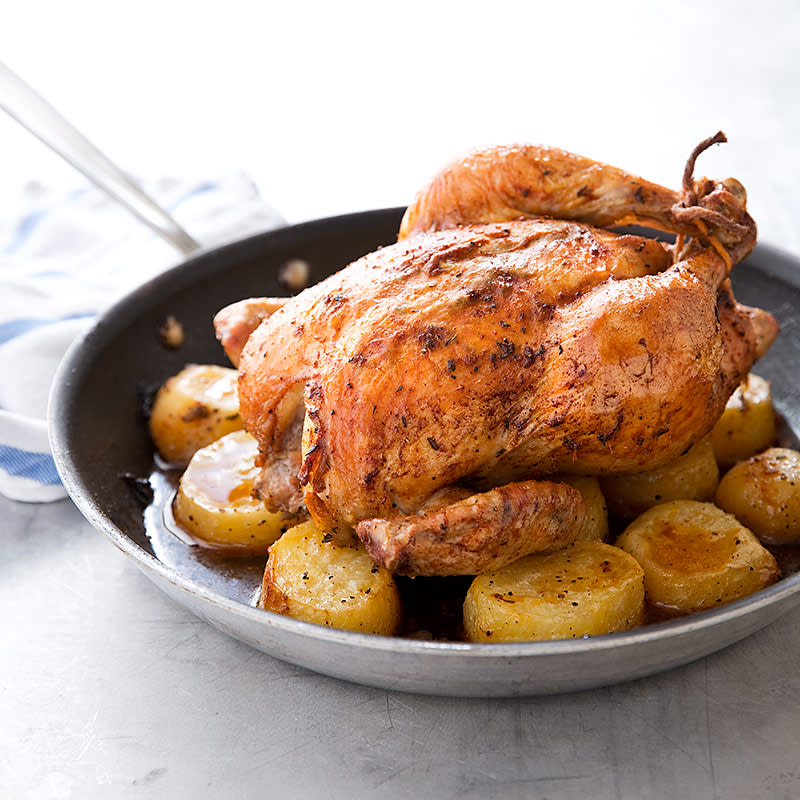 Skillet Chicken With Roasted Potatoes Carrots Recipe: One-Pan Roast Chicken And Potatoes