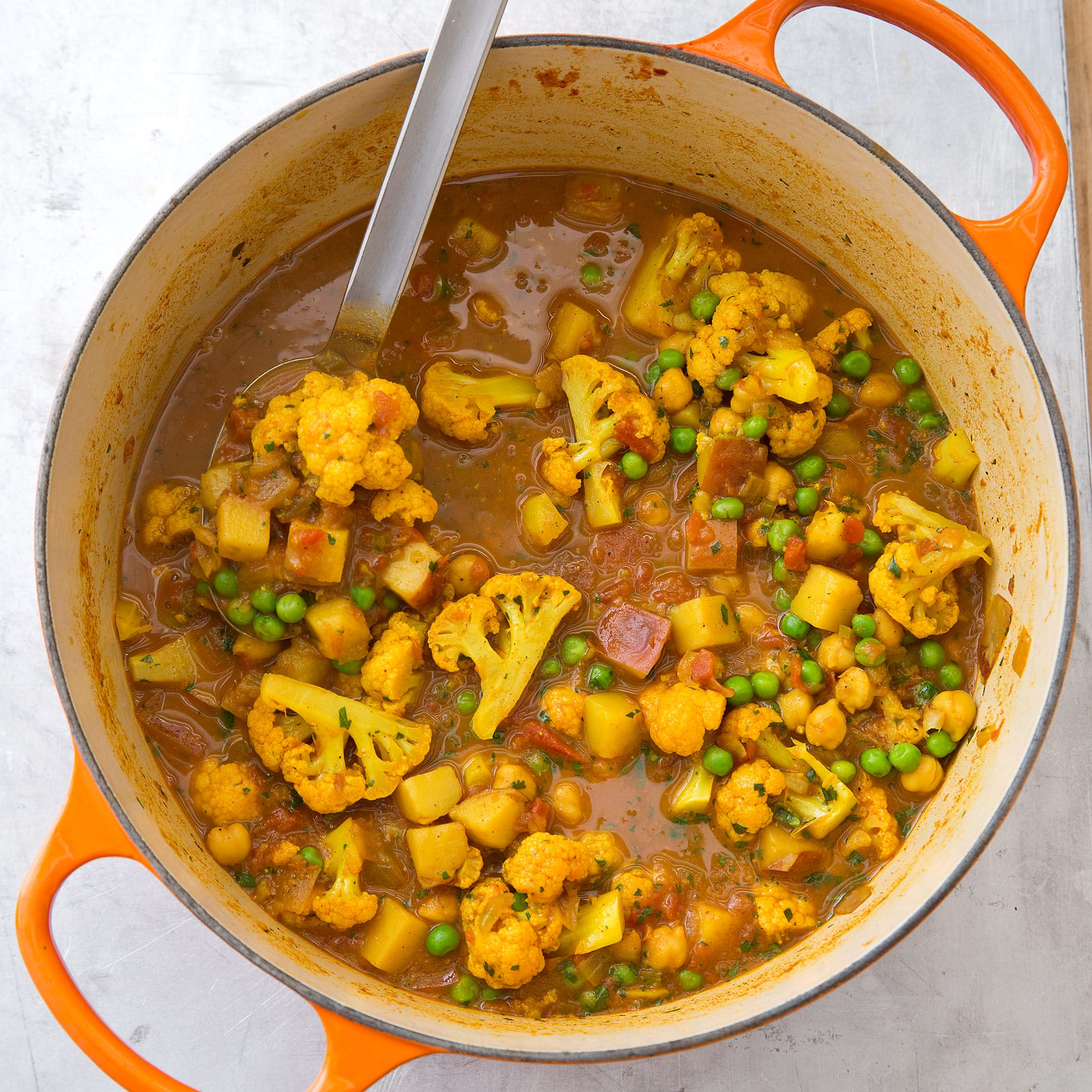 Indian Style Curry With Sweet Potatoes Green Beans And