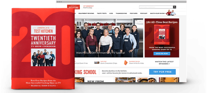 20th anniversary cookbook cover on top of the America's Test Kitchen homepage.