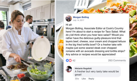 screenshot of Cook's Country editor Morgan Bolling posting to the Facebook group